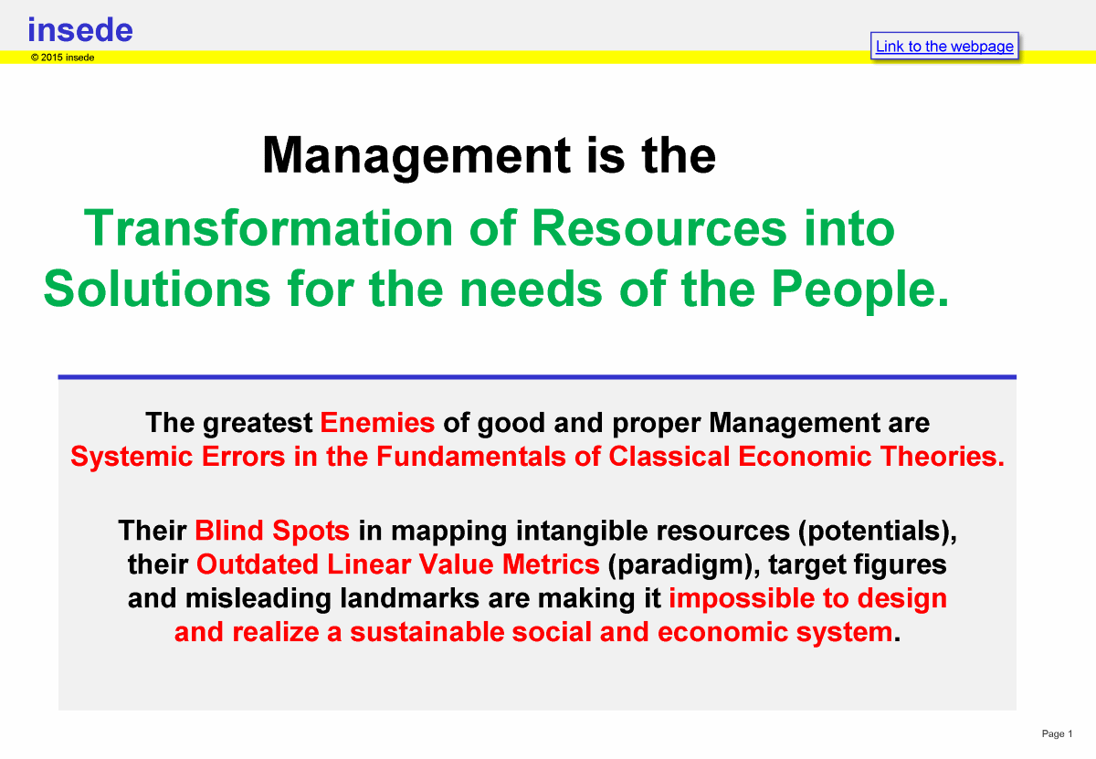 Management is the transformation of resources in benefits (Malik 2015, HSG)